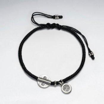 "7"" Adjustable Black Macrame Waxed Cotton Bracelet With Antique Hand Made Round Charm"