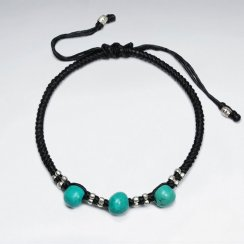 "7"" Adjustable Black Macrame Waxed Cotton Bracelet With Antique Hand Made Silver Bead And Turquoise"