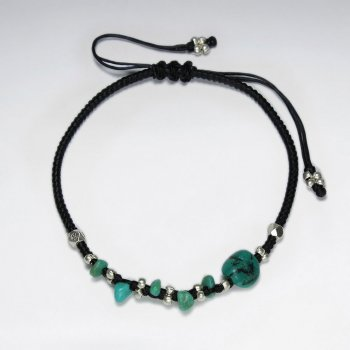 "7"" Adjustable Black Macrame Waxed Cotton Bracelet With Antique Hand Made Silver Beads And Turquoise"