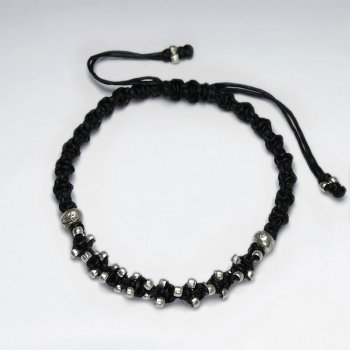"7"" Adjustable Black Macrame Waxed Cotton Bracelet With Antique Hand Made Silver Beads"