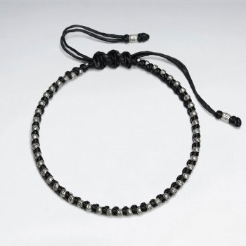 """7"""" Adjustable Black Macrame Waxed Cotton Bracelet With Antique Hand Made Silver Beeads"""