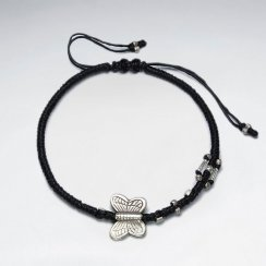 "7"" Adjustable Black Macrame Waxed Cotton Bracelet With Antique Hand Made Silver Butterfly Beads"