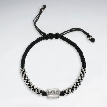 "7"" Adjustable Black Macrame Waxed Cotton Bracelet With Antique Hand Made Silver Cube Beads"