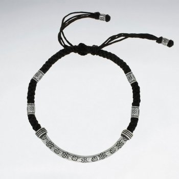 "7"" Adjustable Black Macrame Waxed Cotton Bracelet With Antique Hand Made Silver Curve Tube With Flower Texture"
