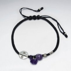 "7"" Adjustable Black Macrame Waxed Cotton Bracelet With Antique Hand Made Silver Disk Bead and Amethyst Stone"