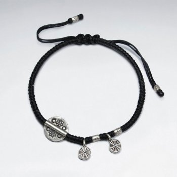 "7"" Adjustable Black Macrame Waxed Cotton Bracelet With Antique Hand Made Silver Disk Bead and Spiral Charms"