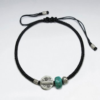"""7"""" Adjustable Black Macrame Waxed Cotton Bracelet With Antique Hand Made Silver Disk Bead And Turquoise"""