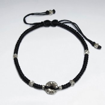 "7"" Adjustable Black Macrame Waxed Cotton Bracelet With Antique Hand Made Silver Donut Beads"