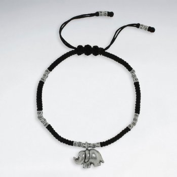 "7"" Adjustable Black Macrame Waxed Cotton Bracelet With Antique Hand Made Silver Elephant Charm"