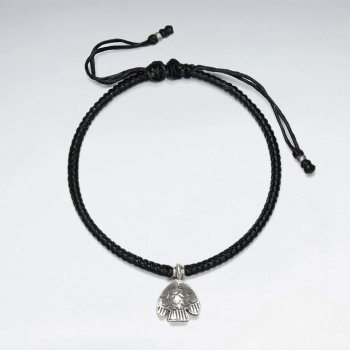 "7"" Adjustable Black Macrame Waxed Cotton Bracelet With Antique Hand Made Silver Fish Charm"