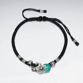 "7"" Adjustable Black Macrame Waxed Cotton Bracelet With Antique Hand Made Silver Flower Charm And Turquoise"