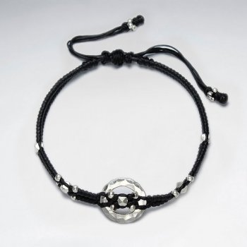 "7"" Adjustable Black Macrame Waxed Cotton Bracelet With Antique Hand Made Silver Hammered Open Circle Beads"