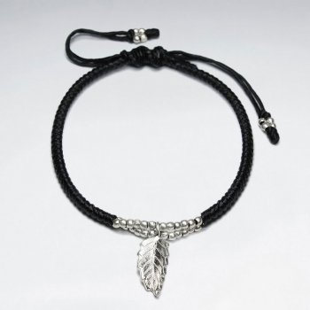 "7"" Adjustable Black Macrame Waxed Cotton Bracelet With Antique Hand Made Silver leaf Charm"