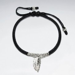 """7"""" Adjustable Black Macrame Waxed Cotton Bracelet With Antique Hand Made Silver leaf Charm"""