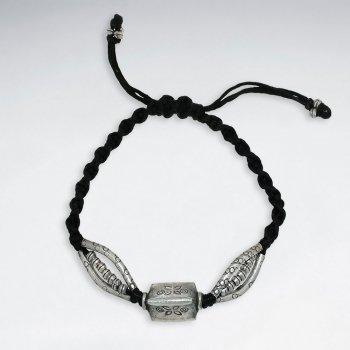 "7"" Adjustable Black Macrame Waxed Cotton Bracelet With Antique Hand Made Silver Multi Curve Tube"