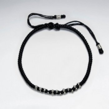 "7"" Adjustable Black Macrame Waxed Cotton Bracelet With Antique Hand Made Silver Nugget Beads"