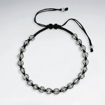 """7"""" Adjustable Black Macrame Waxed Cotton Bracelet With Antique Hand Made Silver Nugget Beads"""