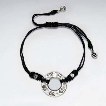 "7"" Adjustable Black Macrame Waxed Cotton Bracelet With Antique Hand Made Silver Open Circle Charms"