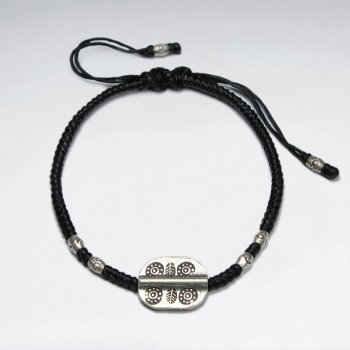 "7"" Adjustable Black Macrame Waxed Cotton Bracelet With Antique Hand Made Silver Oval Disk Charm"
