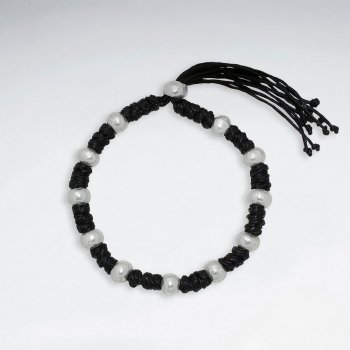 "7"" Adjustable Black Macrame Waxed Cotton Bracelet With Antique Hand Made Silver Round Beads"