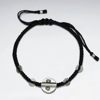 "7"" Adjustable Black Macrame Waxed Cotton Bracelet With Antique Hand Made Silver Round Disk Bead"