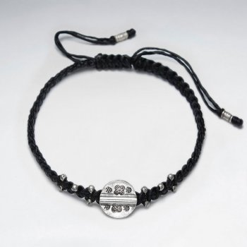 "7"" Adjustable Black Macrame Waxed Cotton Bracelet With Antique Hand Made Silver Round Disk Charm"