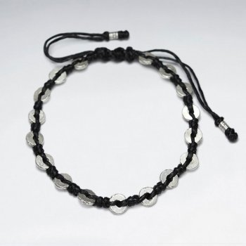 "7"" Adjustable Black Macrame Waxed Cotton Bracelet With Antique Hand Made Silver Round Donut Beads"