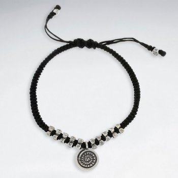 """7"""" Adjustable Black Macrame Waxed Cotton Bracelet With Antique Hand Made Silver Spiral Charms"""