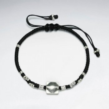 "7"" Adjustable Black Macrame Waxed Cotton Bracelet With Antique Hand Made Silver Square Beads"