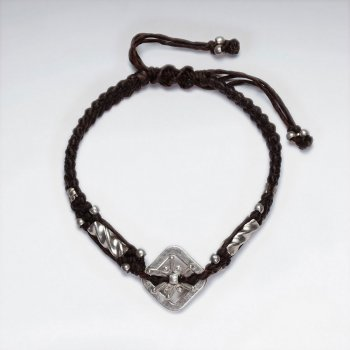 "7"" Adjustable Black Macrame Waxed Cotton Bracelet With Antique Hand Made Silver Square Charm"