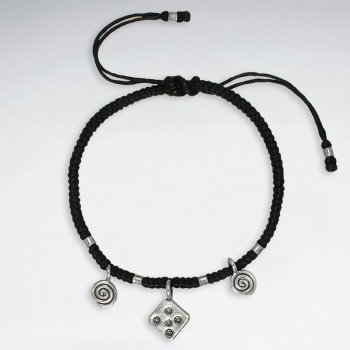 "7"" Adjustable Black Macrame Waxed Cotton Bracelet With Antique Hand Made Silver Square Charms"
