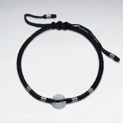 "7"" Adjustable Black Macrame Waxed Cotton Bracelet With Antique Hand Made Silver Tube Bead And Round Jade"