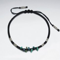 "7"" Adjustable Black Macrame Waxed Cotton Bracelet With Antique Hand Made Silver Tube Bead And Turquoise Nugget"
