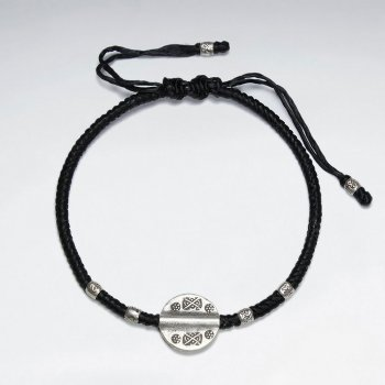 """7"""" Adjustable Black Macrame Waxed Cotton Bracelet With Antique Hand Made Silver Tube Beads And Round Disk Charm"""