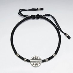 "7"" Adjustable Black Macrame Waxed Cotton Bracelet With Antique Hand Made Silver Tube Beads And Round Disk Charm"