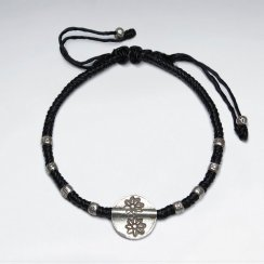"7"" Adjustable Black Macrame Waxed Cotton Bracelet With Antique Hand Made Silver Tube Beads And Round Disk  Flower Charm"