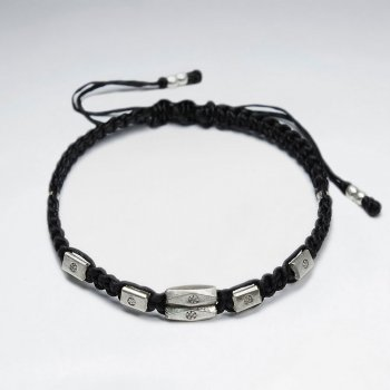 "7"" Adjustable Black Macrame Waxed Cotton Bracelet With Antique Hand Made Silver  Tube Beads"