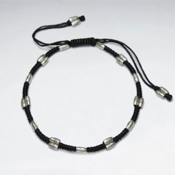 "7"" Adjustable Black Macrame Waxed Cotton Bracelet With Antique Hand Made Silver Tube"