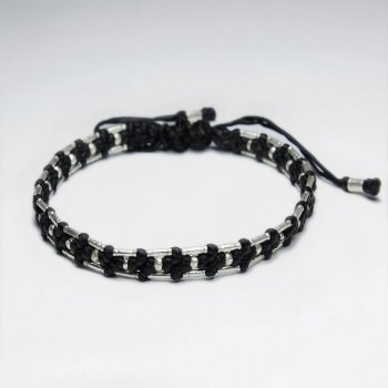 "7"" Adjustable Black Macrame Waxed Cotton Bracelet With Antique Hand Made Silver Tube Spacer"