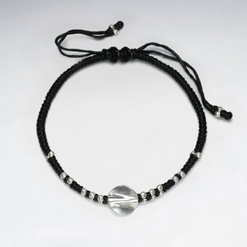 "7"" Adjustable Black Macrame Waxed Cotton Bracelet With Antique Hand Made Silver Twisted Rounf Beads"