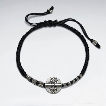 "7"" Adjustable Black Macrame Waxed Cotton Bracelet With Antique Hand Made SilverDisk Charms"