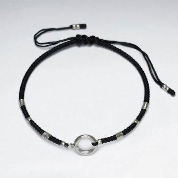 "7"" Adjustable Black Macrame Waxed Cotton Bracelet With Antique Hand Made SilverOpen Circle Beads"