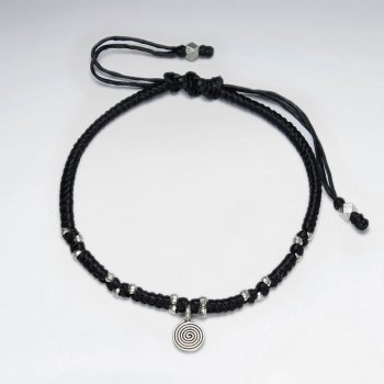 "7"" Adjustable Black Macrame Waxed Cotton Bracelet With Antique Hand Made Spiral Charm"