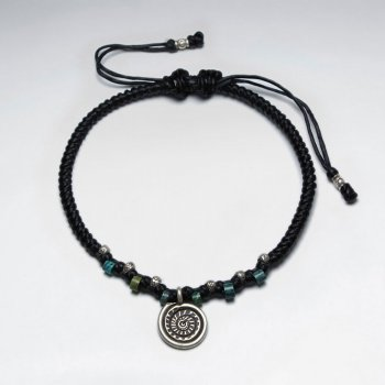 "7"" Adjustable Black Macrame Waxed Cotton Bracelet With Antique Hand Made Spiral Silver Charm"