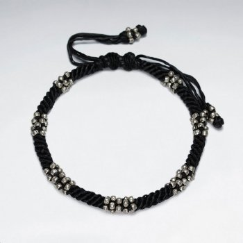 "7"" Adjustable Black Macrame Waxed Cotton Bracelet With Antique Handmade Cluster Silver Beads"