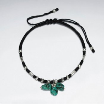 "7"" Adjustable Black Macrame Waxed Cotton Bracelet With Antique Handmade Silver Bead And Clustered Turquoise"