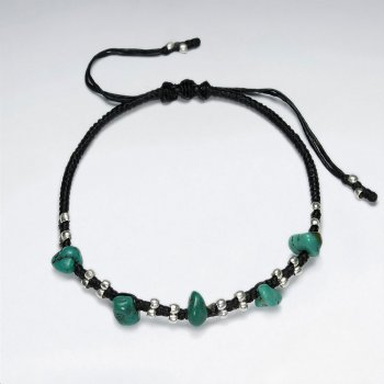 "7"" Adjustable Black Macrame Waxed Cotton Bracelet With Antique Handmade Silver Bead And Nugget Turquoise"