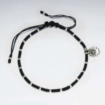 "7"" Adjustable Black Macrame Waxed Cotton Bracelet With Antique Handmade Silver Bead And Sunflower Charm"