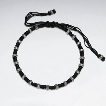 "7"" Adjustable Black Macrame Waxed Cotton Bracelet With Antique Handmade Silver Bead"
