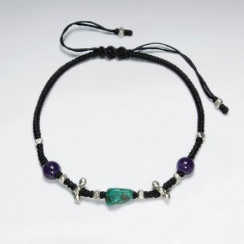 "7"" Adjustable Black Macrame Waxed Cotton Bracelet With Antique Handmade Silver Bead Turquoise And Amethyst"